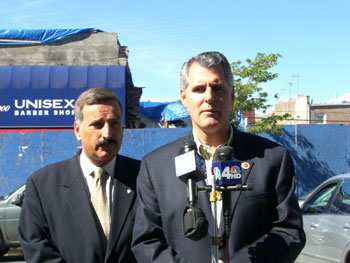 Councilmen James Gennaro, right, and David Weprin.